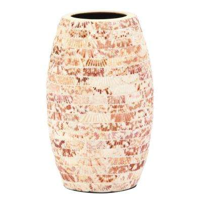 Brown/Tan  Cylindrical Ceramic Vase with Natural Seashells Small