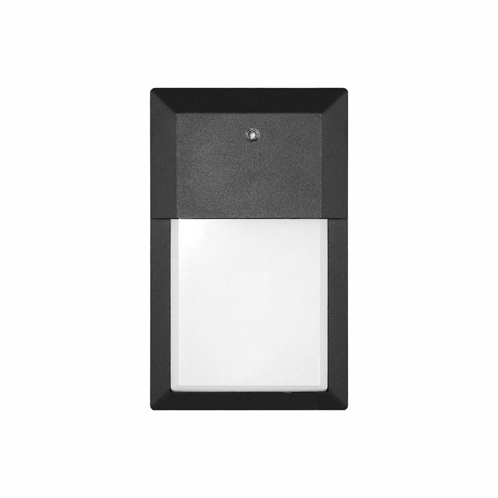 Euri Lighting 12-Watt Black Outdoor Integrated LED Mini Wall Pack Light in Soft White with Photocell