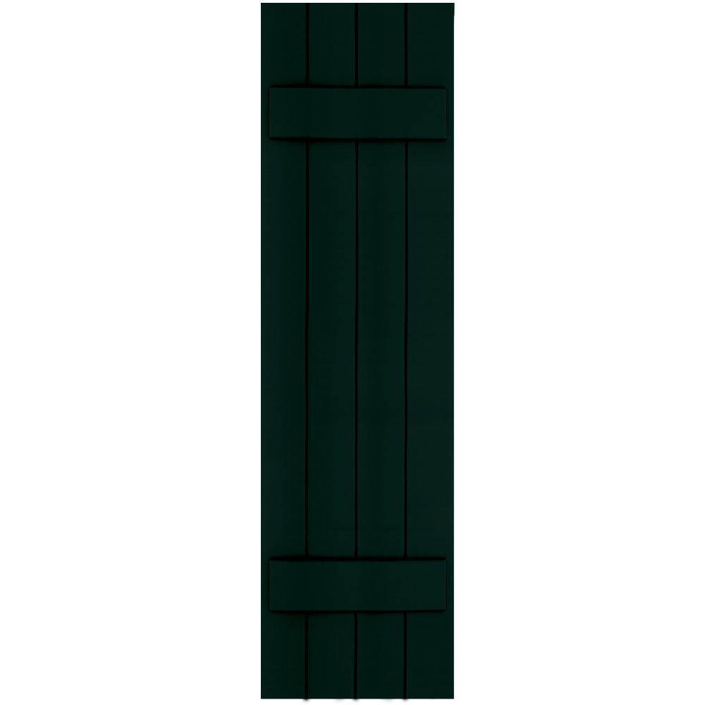 Winworks Wood Composite 15 in. x 56 in. Board & Batten Shutters Pair #654 Rookwood Shutter Green