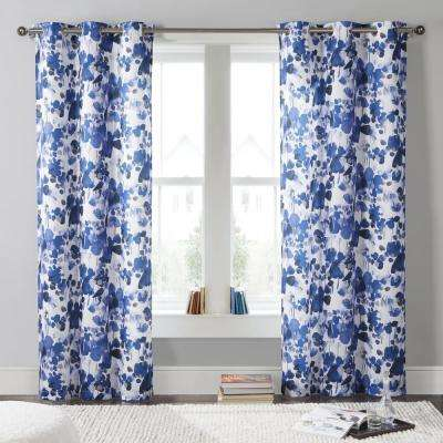 Laurent 38 in. W x 84 in. L Polyester Window Panel in Blue