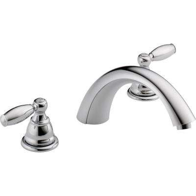2-Handle Deck-Mount Roman Tub Faucet Trim Kit in Chrome (Valve Not Included)