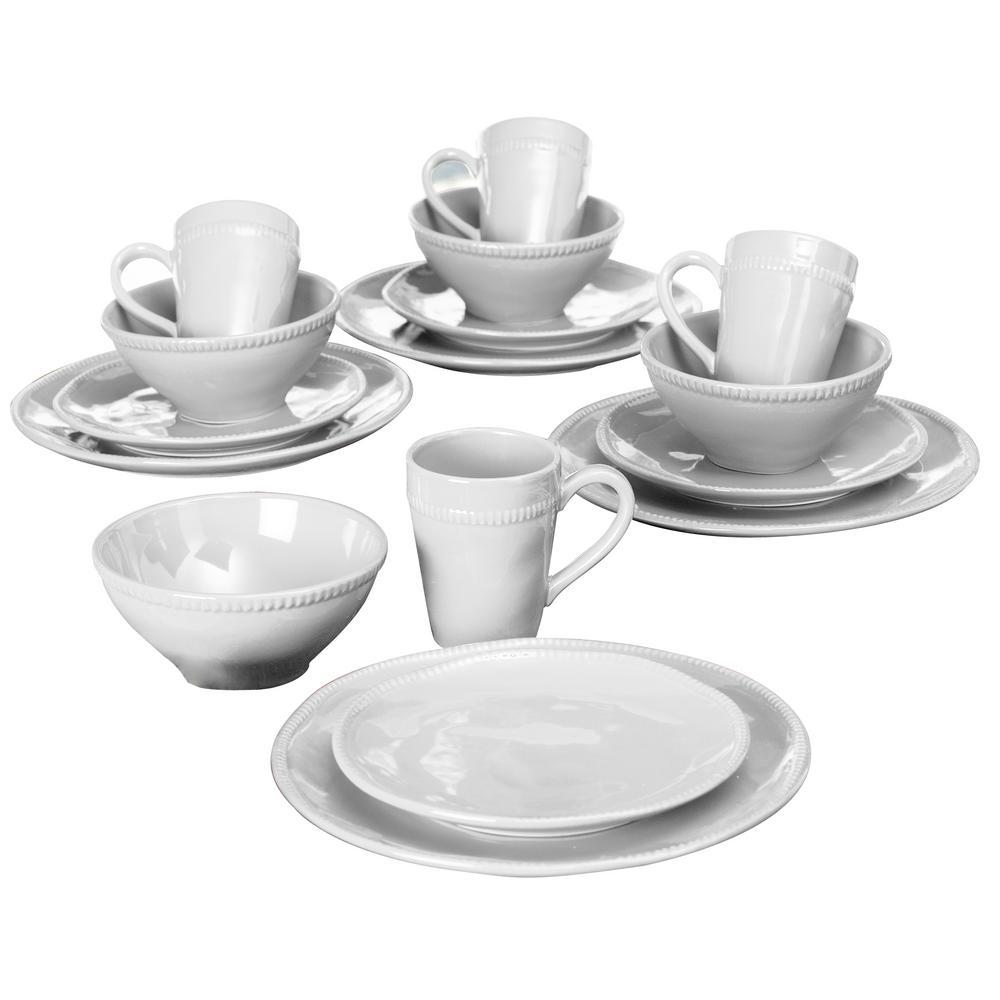 Algarve 16-Piece White Dinnerware Set by