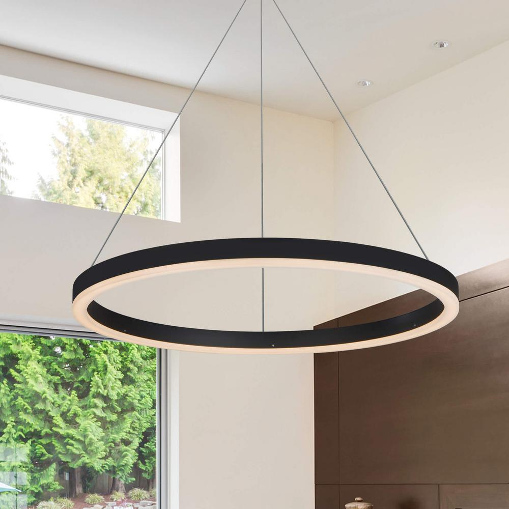 Jinko Led 5w Integrated Ceiling Lamp Bedroom Kitchen: VONN Lighting Tania Round 24 In. 36-Watt Black Integrated