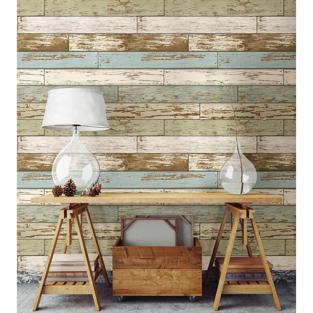 Nuwallpaper multi color old salem vintage wood peel and for Paintable peel n stick wallpaper