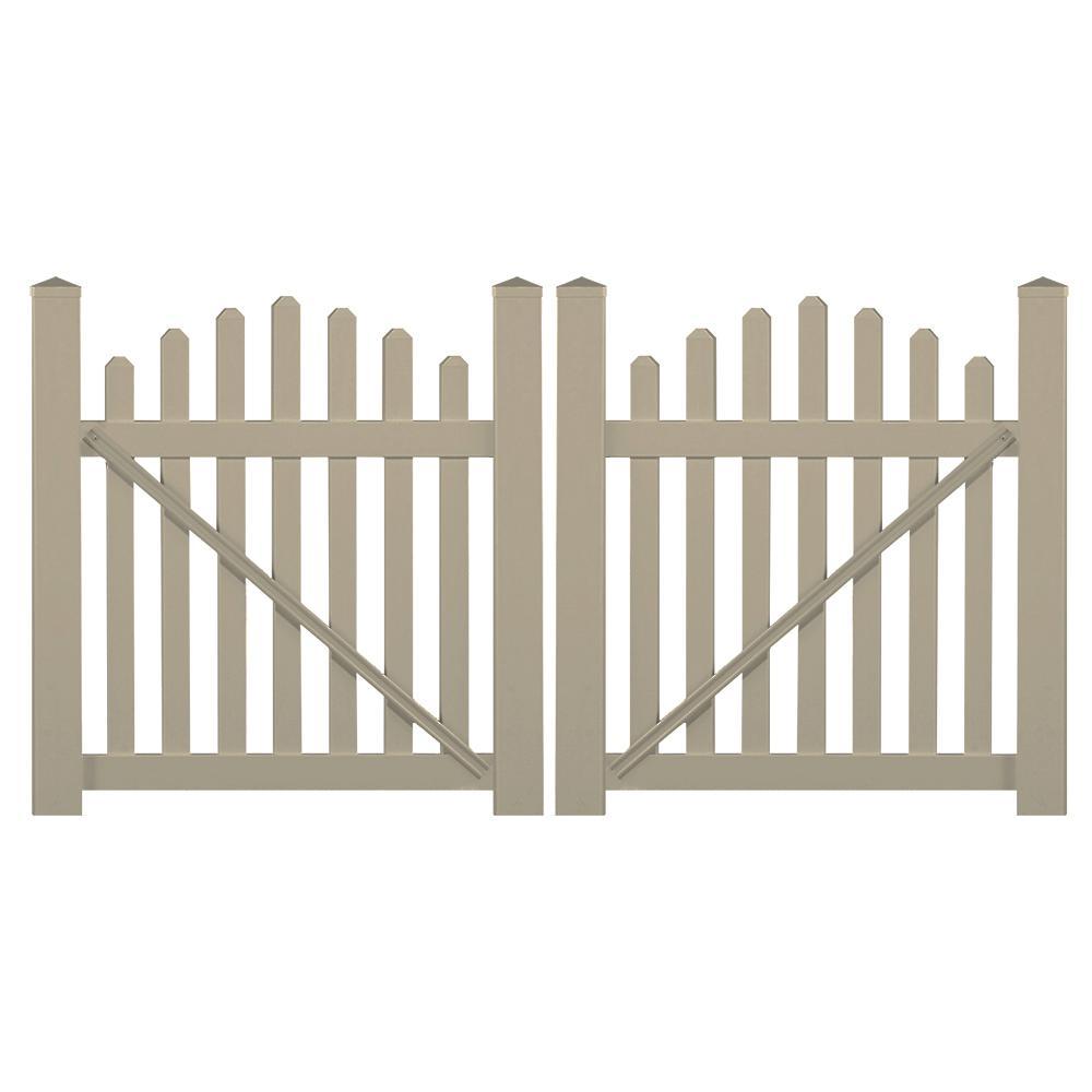 Sanibel 8.8 ft. W x 3 ft. H Khaki Vinyl Picket Fence Double Gate Kit
