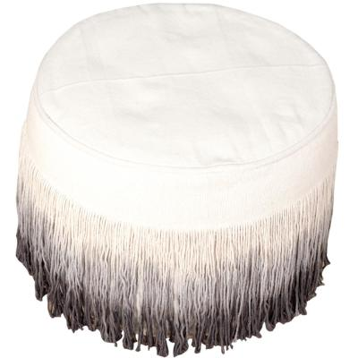 Tie Dye Tassel Natural / Grey Round 20 in. x 14 in. Indoor Pouf