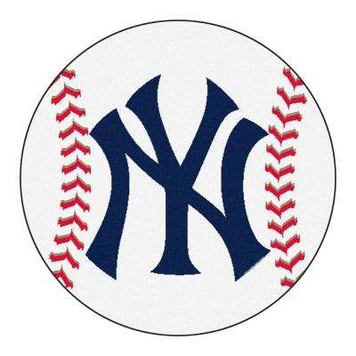 MLB New York Yankees White 2 ft. 3 in. x 2 ft. 3 in. Round Accent Rug