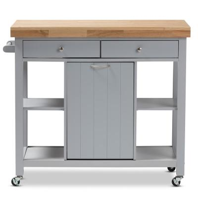 Hayward Gray Kitchen Cart with Pull Out Garbage Bin