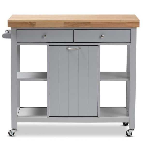 Baxton Studio Hayward Gray Kitchen Cart with Pull Out ...