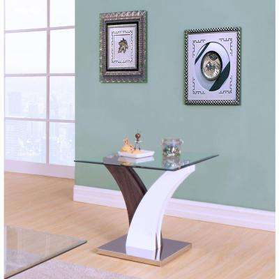 Forest End Table Clear Glass in White and Walnut