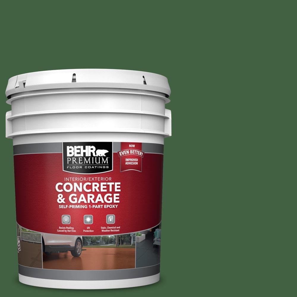 5 gal. #S400-7 Deep Viridian 1-Part Epoxy Satin Interior/Exterior Concrete and Garage Floor Paint