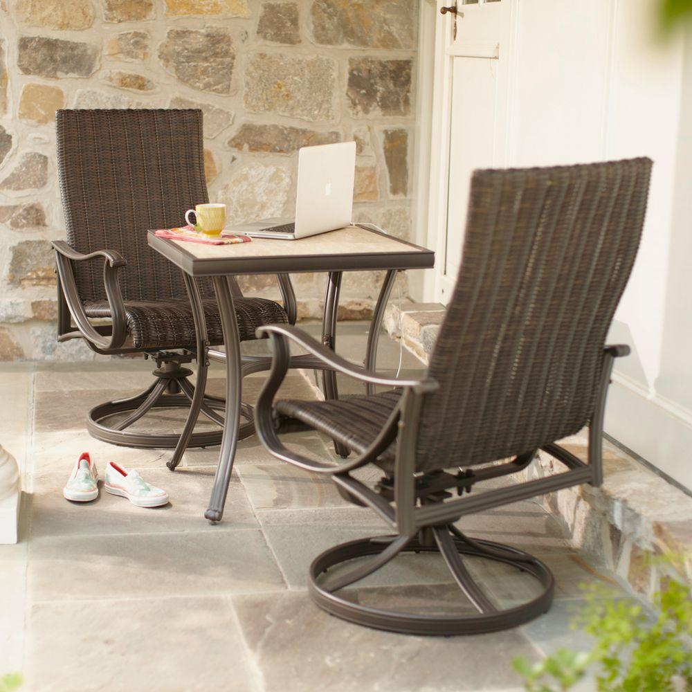 Hampton Bay Pembrey 3-Piece Patio Bistro Set - Hampton Bay Pembrey 3-Piece Patio Bistro Set-HD14205 - The Home Depot