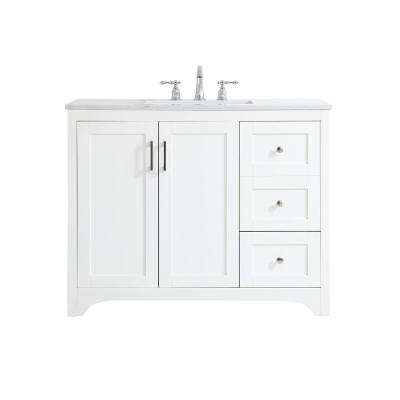 Timeless Home 42 in. W x 22 in. D x 34 in. H Single Bathroom Vanity in White with Calacatta Quartz