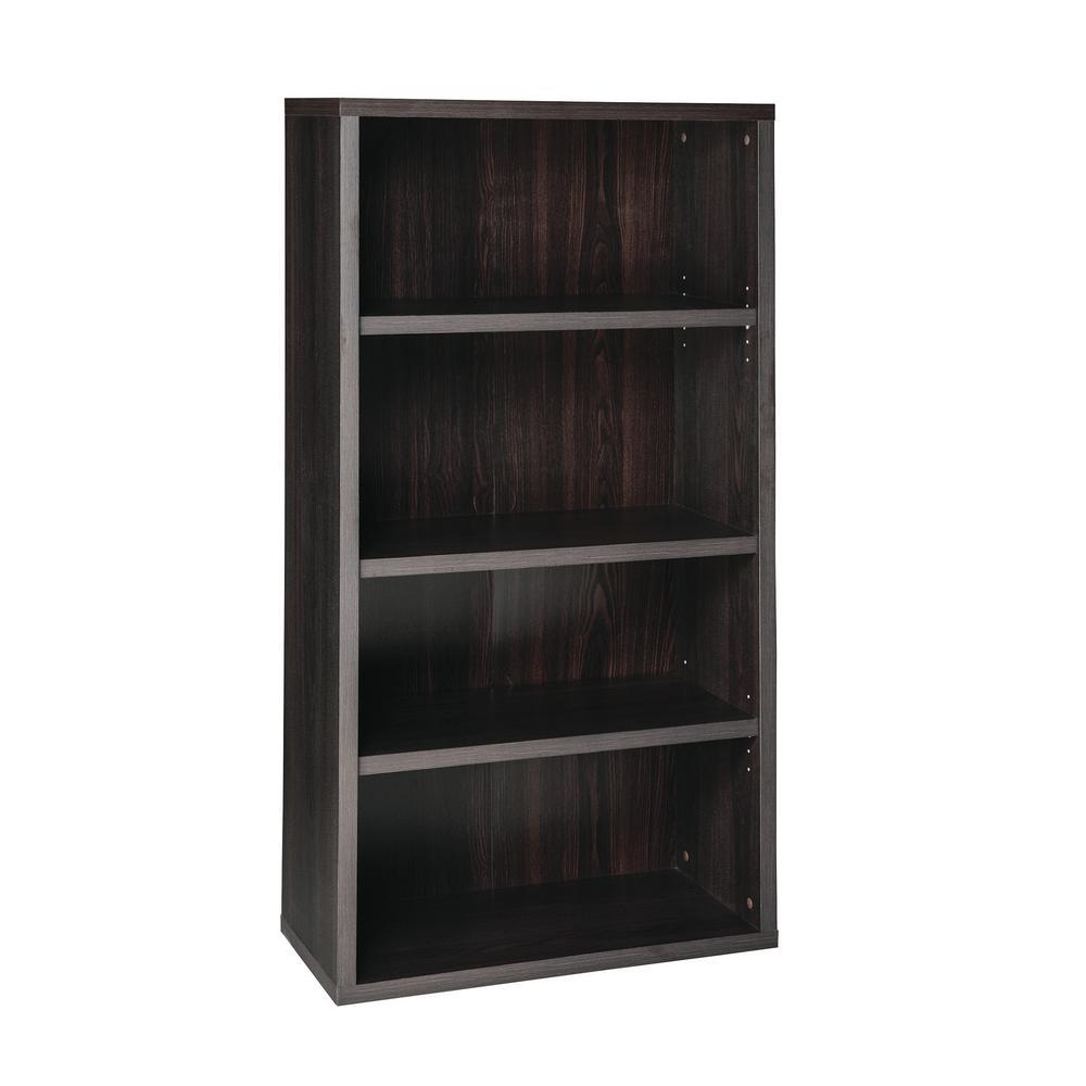 59 in. x 30 in. Black Walnut Decorative 4-Shelf Unit