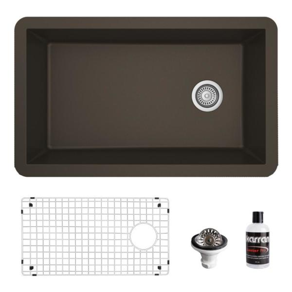 QU-670 Quartz/Granite Composite 32 in. Single Bowl Undermount Kitchen Sink with Grid and Basket Strainer in Brown