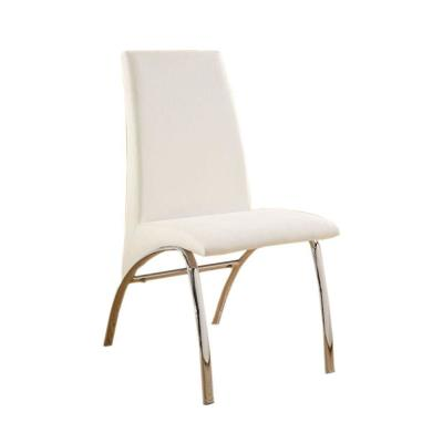 Contemporary White Finish Side Chair Steel Tube (Set of 2)