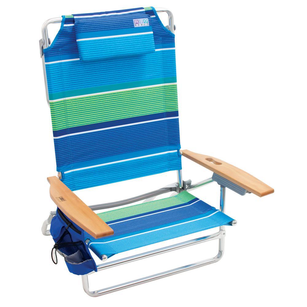 5-Position Big Kahuna Aluminum Beach Chair with Headrest, Pockets and Folding Towel Bar