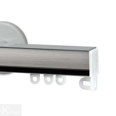 Nexgen 60 in. Non-Adjustable Single Traverse Window Curtain Rod Set in White with Ebony Applique