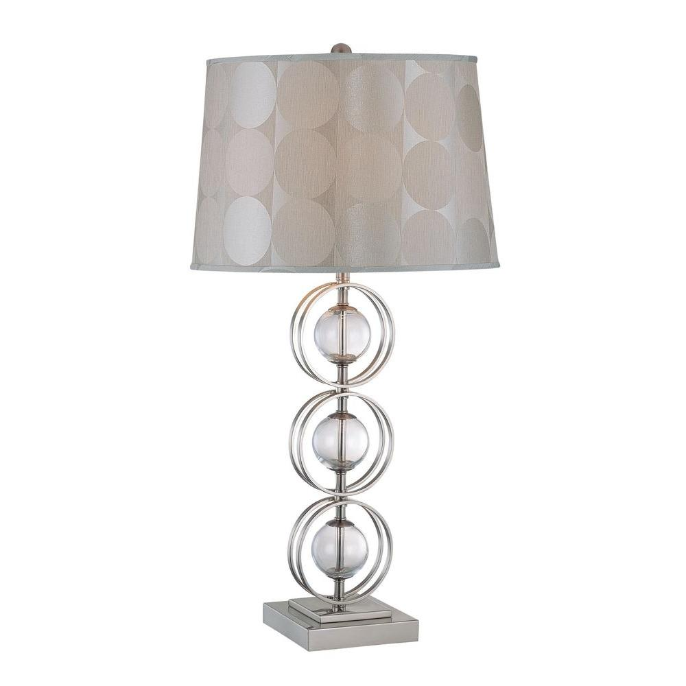 Illumine 32.25 in. Polished Steel and Clear Glass Table Lamp
