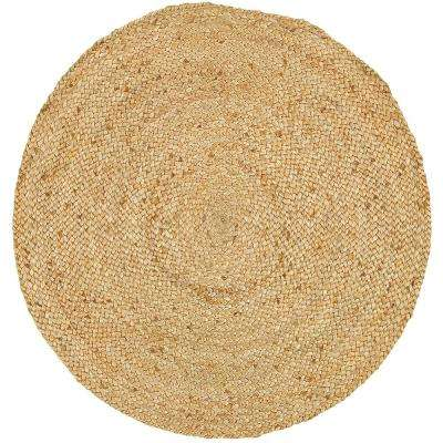 Natural Jute Natural Round 3 ft. x 3 ft. Indoor Area Rug