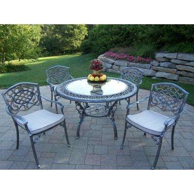 5 Piece Aluminum Outdoor Dining Set With Oatmeal Cushions