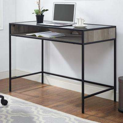 42 in. Metal and Wood Desk with Glass and Shelf Grey Wash