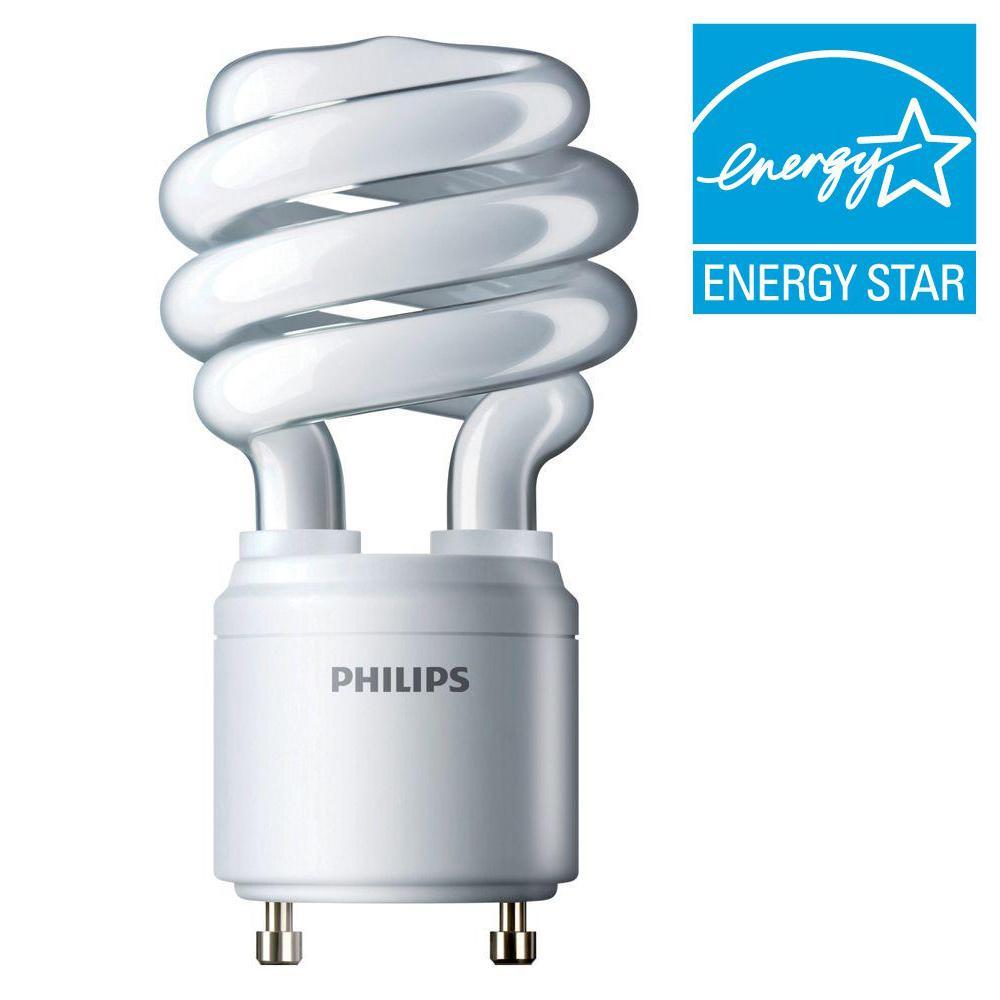 Philips 60W Equivalent Bright White (4100K) Spiral GU24 CFL Light Bulb (E*)