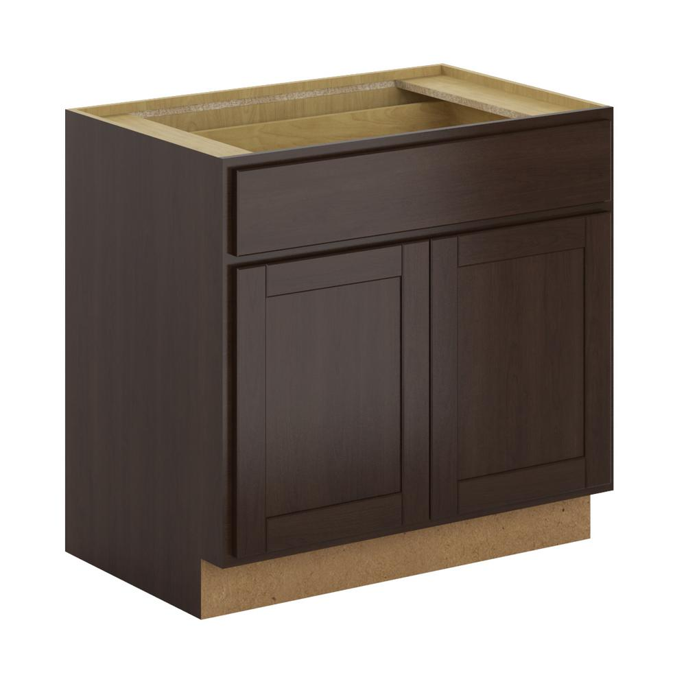 hampton bay princeton shaker assembled in base cabinet with soft close drawer in. Black Bedroom Furniture Sets. Home Design Ideas