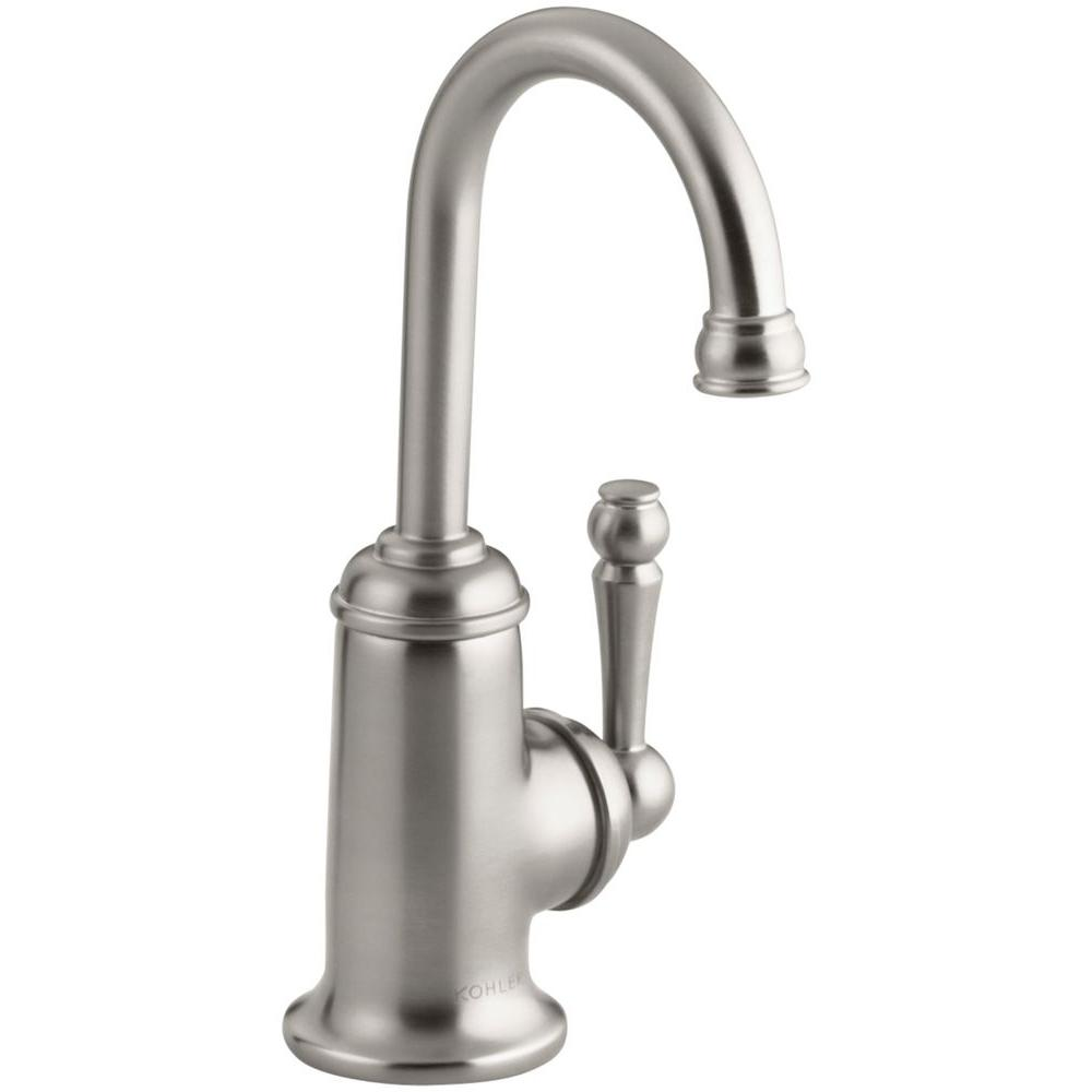 KOHLER Wellspring Single Handle Bar Faucet with Traditional Design in Vibrant Stainless Steel