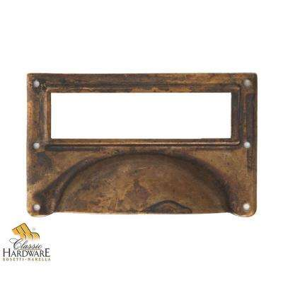 3.15 in. Antique Brass Distressed Surface Mount Bin Pull Card Holder