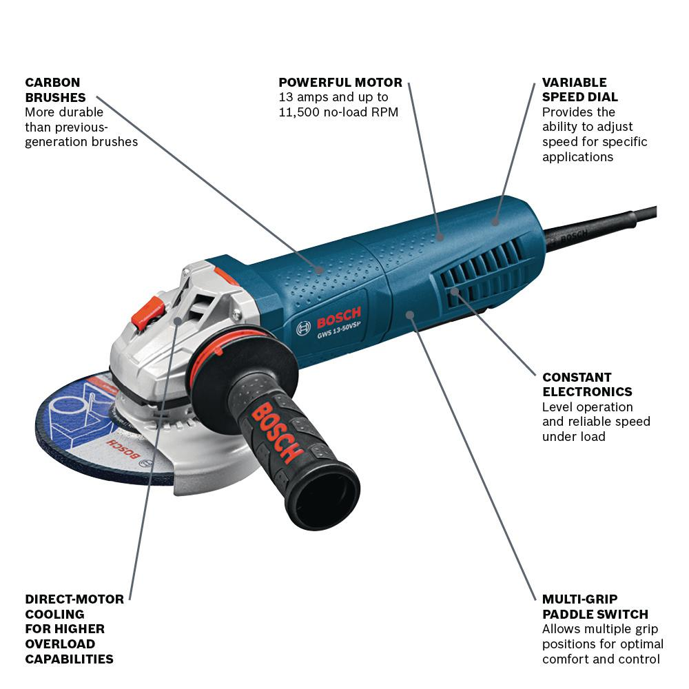 Bosch 13 Amp Corded 5 In Variable Speed Angle Grinder With Paddle Switch And Dust Guard Gws13 50vsp Dg The Home Depot