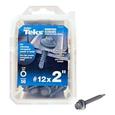 #12 x 2 in. Metallic Steel Hex Drill Point Roofing Screws (50-Pack)