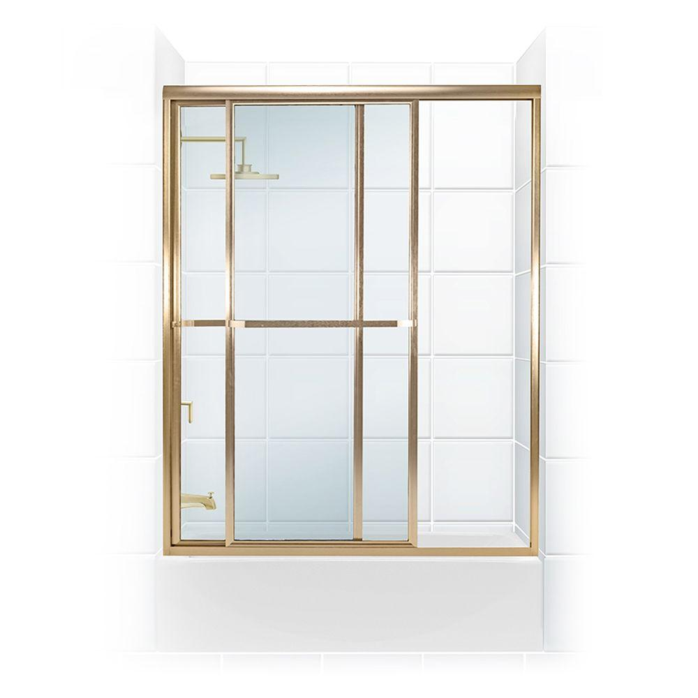 Coastal Shower Doors Paragon Series 56 in. x 58 in. Framed Sliding Tub Door with Towel Bar in Gold and Clear Glass