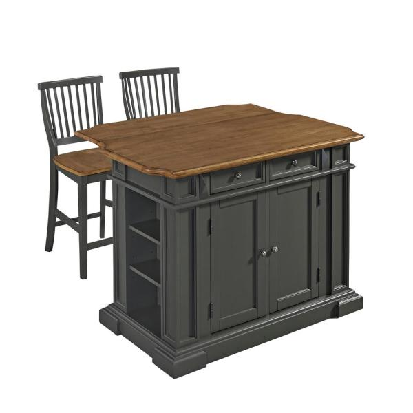 Home Styles Americana Grey Kitchen Island With Seating
