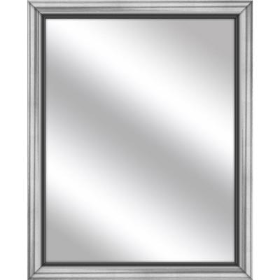 Medium Rectangle Stainless Silver Art Deco Mirror (32.75 in. H x 26.75 in. W)