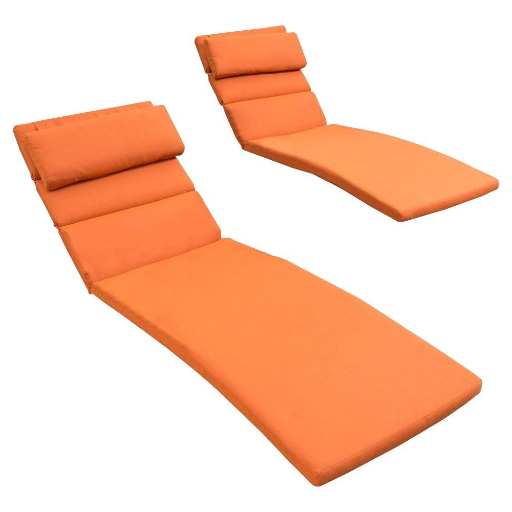 RST Brands Tikka Orange Outdoor Chaise Lounge Cushions Set Of 2