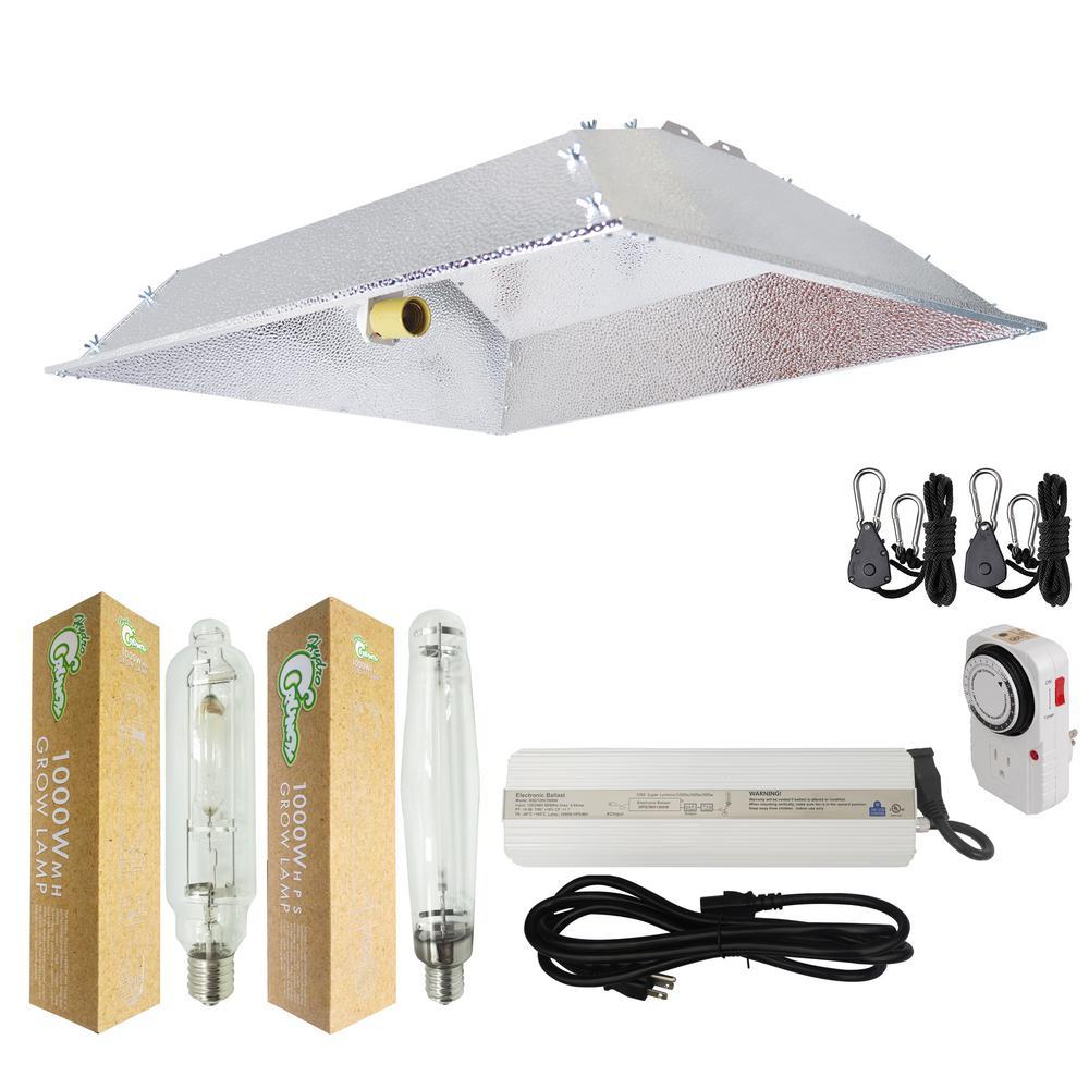 1000-Watt HPS/MH Grow Light System with XXL Open Hood Grow Light Reflector