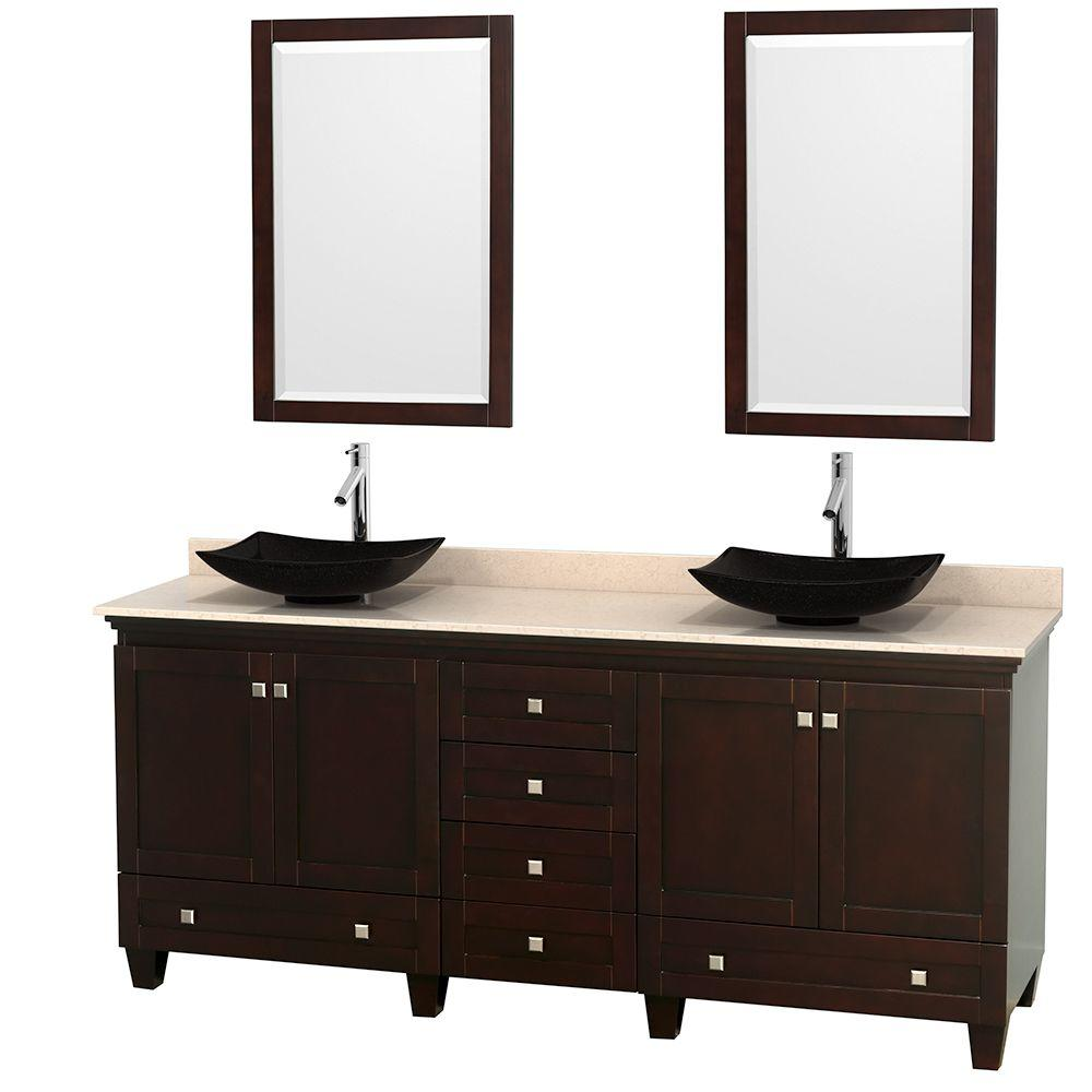 Wyndham Collection Acclaim 80 in. W Double Vanity in Espresso with Marble Vanity Top in Ivory, Black Sinks and 2 Mirrors