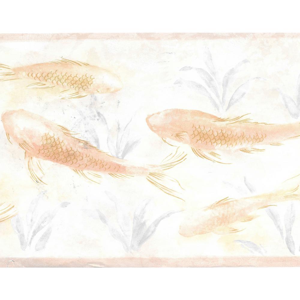 Falkirk Brin Fish In Pond Pearl, Beige, Pink, Light Green Wallpaper Border