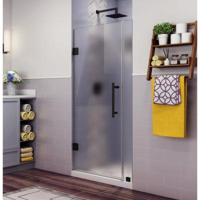 Belmore 31.25 in. to 32.25 in. x 72 in. Frameless Hinged Shower Door with Frosted Glass in Matte Black