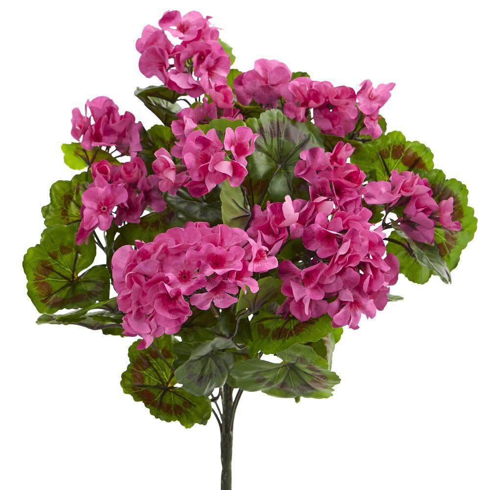 UV Resistant Indoor/Outdoor Geranium Artificial Bush (Set of 3)