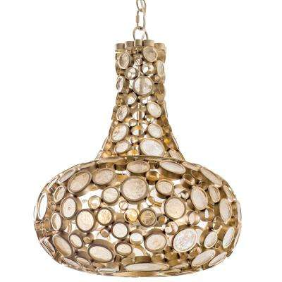 Varaluz Fascination 3-Light Zen Gold Carafe Pendant with Recycled Champagne Glass by Champagne Glasses