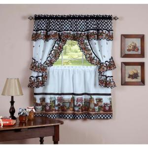 Achim Sheer Mason Jars Black / White Window Curtain Set - 57 inch W x 36 inch L by Achim