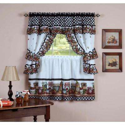 Sheer Mason Jars Black / White Window Curtain Set - 57 in. W x 36 in. L