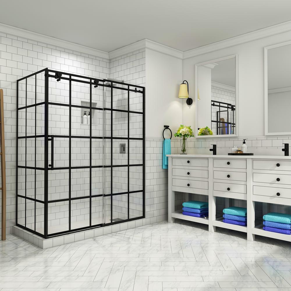 French Vienne 44 in. to 48 in. x 33.875 in. x 76 in. Frameless Sliding Corner Shower Door in Matte Black, Left Opening