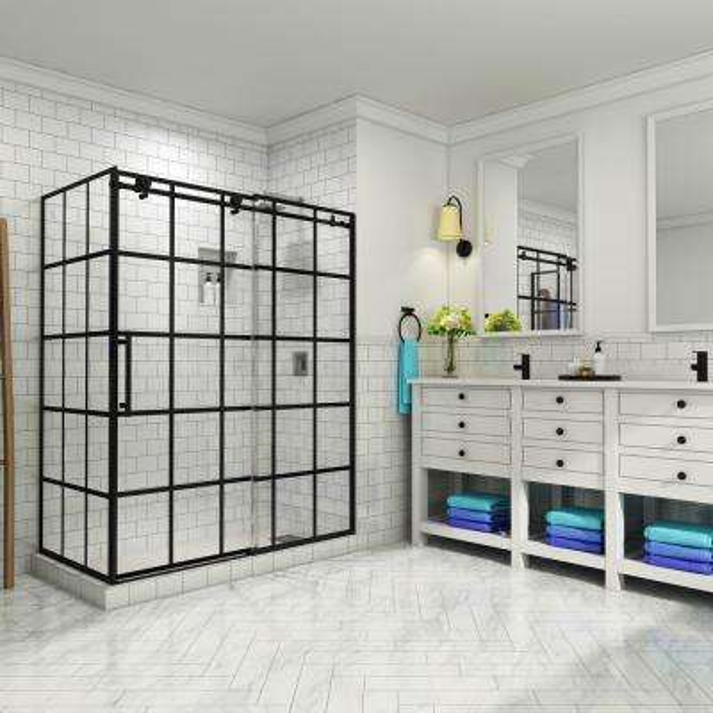 French Vienne 56 in. to 60 in. x 33.875 in. x 76 in. Frameless Sliding Corner Shower Door in Matte Black, Left Opening