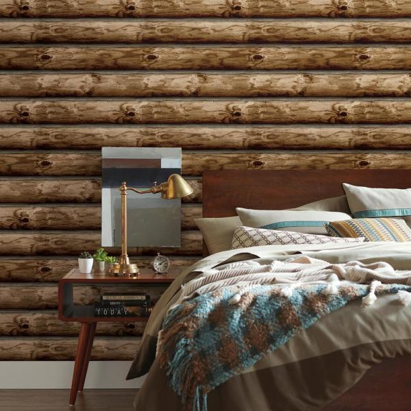 Roommates 28 18 Sq Ft Cabin Logs Peel And Stick Wallpaper Rmk11308wp The Home Depot
