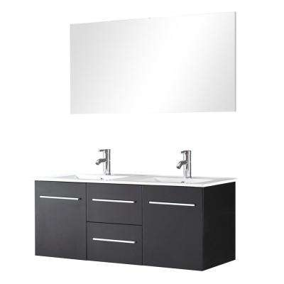 Regina 48 in. W x 19 in. D x 21 in. H Vanity in Wenge with Ceramic Vanity Top in White with White Basin and Mirror