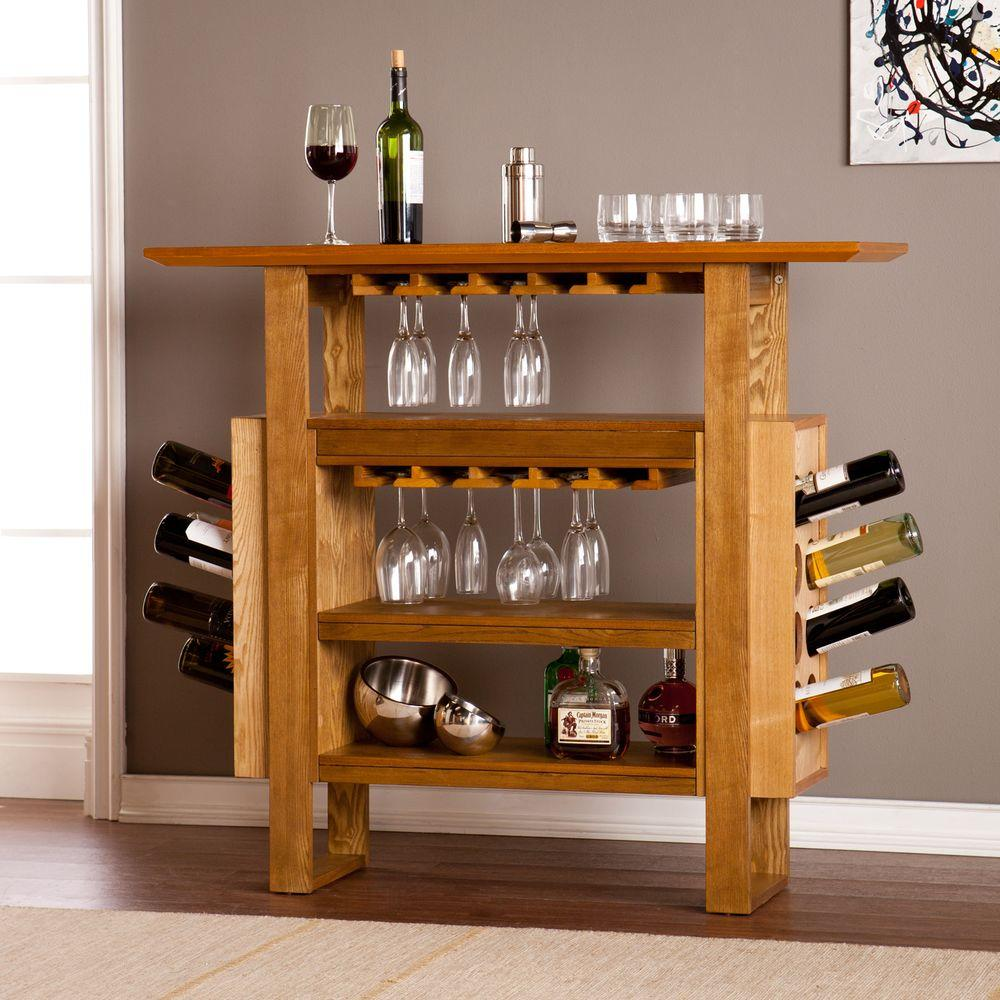 Winsome wood furniture decor the home depot sunderland 16 bottle weathered and natural oak floor wine rack geotapseo Choice Image