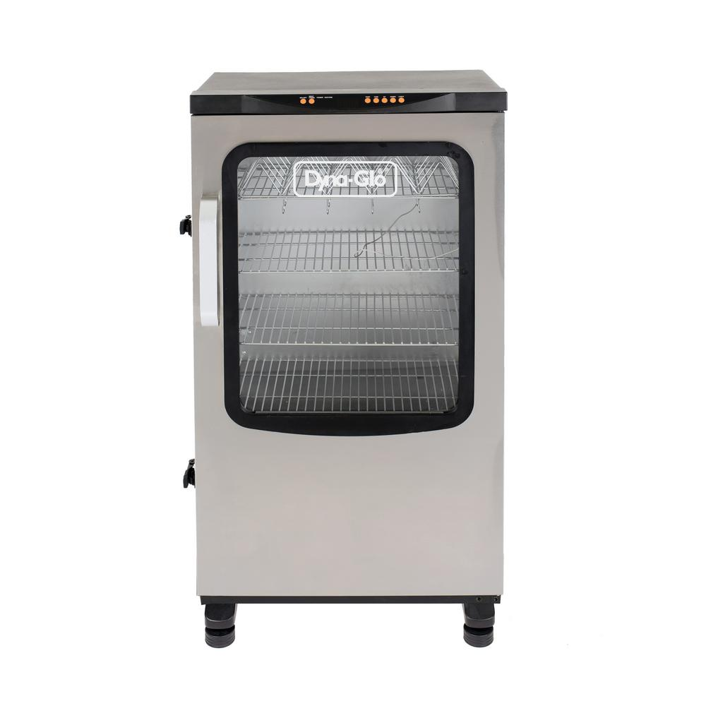 Dyna-Glo Single Door 40 in. Digital Electric Smoker Bring the classic art of barbecue into the future with the 40 in. Digital Electric Smoker from Dyna-Glo. Digitally set and monitor your cook time and temperature with the push of a button. With the digitally-controlled, integrated meat thermometer, you can keep an eye on the foods internal temperature without opening the door, and relax knowing the smoker will turn off when the meat reaches your desired temperature. Designed for easy access and a simplified process, this smoker will have you serving up ribs, sausages and more in no time.